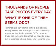 A British police ad warning public about suspicious public photographers