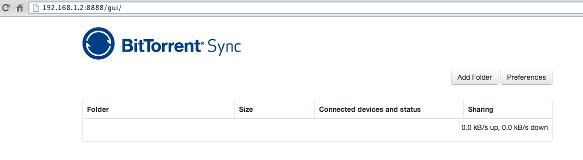 The minimal btsync web ui