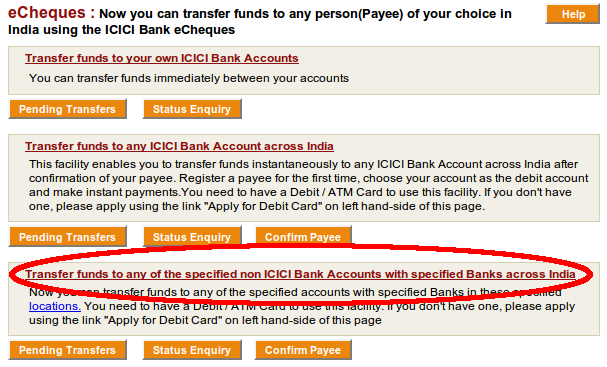 Funds transfer menu - select non-ICICI a/cs