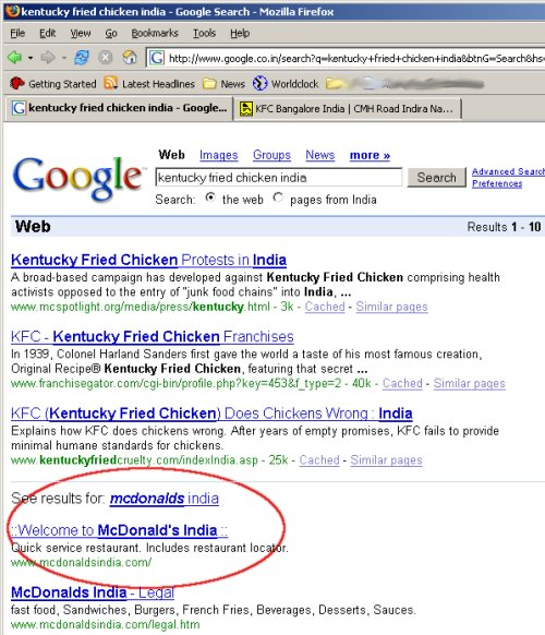 Google search for for KFC